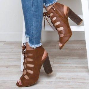 Cognac Lace-Up Block Heels